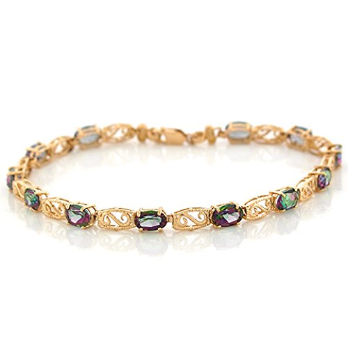 10k Yellow Gold Oval Mystic Topaz Dainty Antique Like Bracelet by Jewelry Liquidation