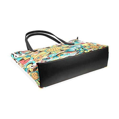COOSUN Vogel Phoenix und Sonnenblume Muster PU Leder Schultertasche Handtasche und Handtaschen Tasche für Frauen