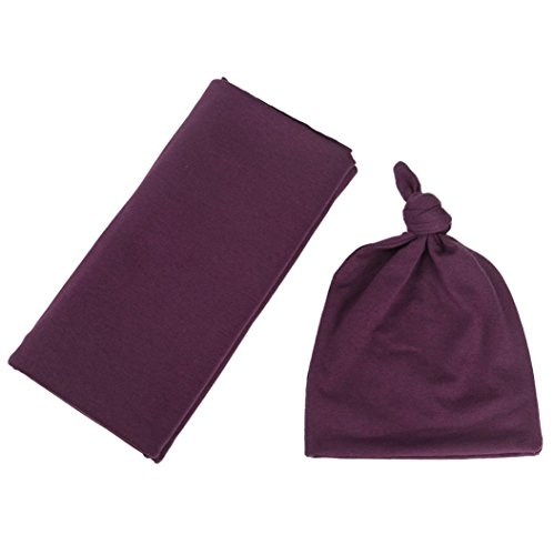 WARMSHOP Newborn Baby Knot Nursery Beanie Hat Blanket Set Solid Soft Cotton Baby Swaddle Receiving Blankets,Shower Photography Gift (Purple)