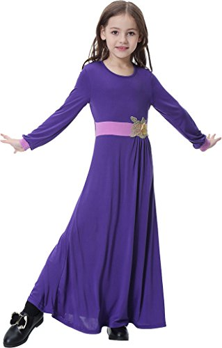 Ababalaya Muslim Islamic Girl's Soft O-Neck 3D Flower Applique Full Length Abaya Dress,Purple,L Suitable for Height - Model Girl Photo Malaysia