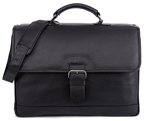 LEABAGS Orlando maletín de auténtico cuero búfalo en el estilo vintage - Marrón Onyxblack