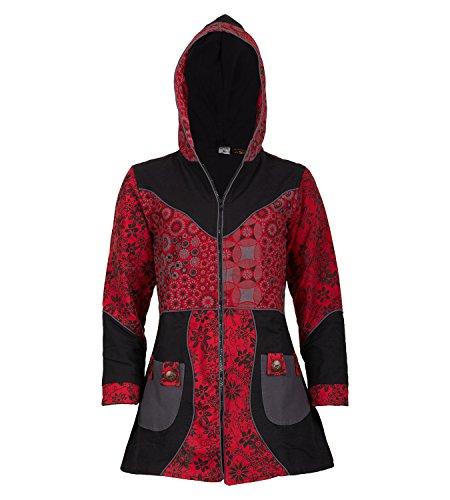 Con Diseño Mujer Rojo Abrigo Negro Y De Floral Algodón Capucha Para SHqqwZ