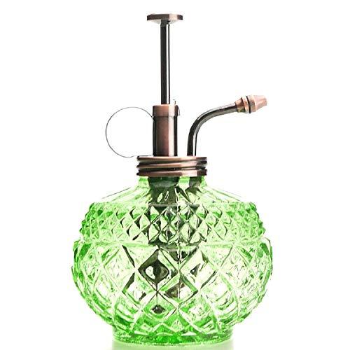 Purism Style Plant Mister- Green Color Glass Bottle & Brass Sprayer (Antique Copper)