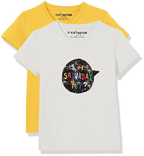 Kid-Nation-Kids-2-Pack-V-Neck-T-Shirt-for-Boys-or-Girls-Solid-and-Graphic