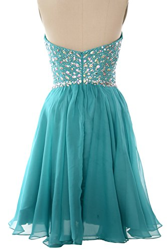 MACloth Women Strapless Crystals Chiffon Short Prom Dress Cocktail Formal Gown Blanco