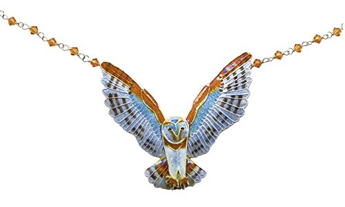 Barn Owl Large Cloisonne Necklace