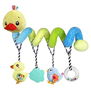 Car-seat-Toys-Baby-Activity-Spiral-Plush-Toys-for-Stroller-bar-Accessories-Crib-Toys-with-Bell-for-boy-or-Girl-Hangings-Rattle-Toy-with-Squeaky