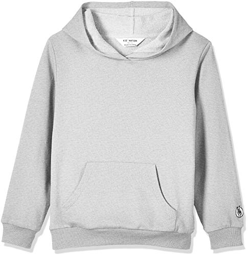French Terry Sweatshirt - Kid Nation Kids' French Terry Hooded Sweatshirt for Boys or Girls L Marled Gray