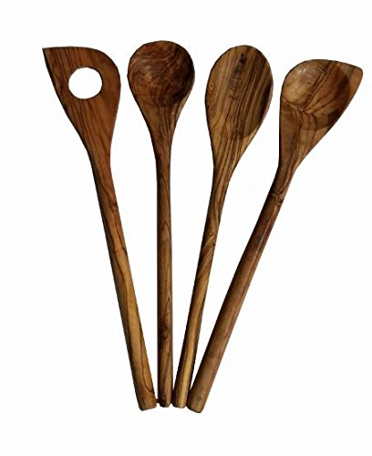 4 x olive wood cooking spoon, kitchen utensil set, olive wood cooking spoon gift set, 4 pieces, each approx 30 cm long, oval, round, wooden spoon kitchen set 4 pieces each approx 30 cm long KREMERS GmbH
