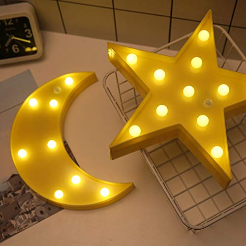 ZFRANC Multi-Shape 3D LED Night Light Marquee Sign Lights, Cute Star & Moon Wall Desktop Nursery Lamp Decorations for Kids Adults Baby Birthday Party Holiday ()