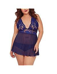Shybuy Plus Size Underwear, Women Babydoll Lingerie Sheer Lace Chemise Halter Backless Sleepwear