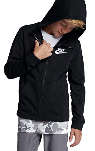 Nike Boy's Sportswear Full-Zip Hoodie (Black/Black, X-Large)