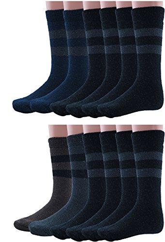 Mens Rabbit Wool Thermal Socks Ultra Warm Thick Boot Socks 12-pack By DEBRA WEITZNER (Length Heavyweight Merino Wool Sock)
