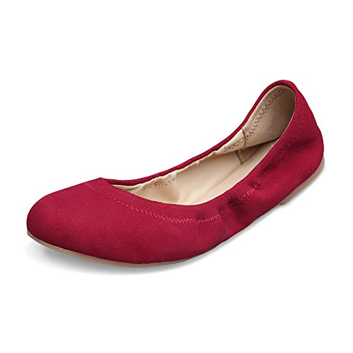 Xielong Women's Chaste Ballet Flat Lambskin Loafers Casual Ladies Shoes Leather Cherry Suede10.5 ()