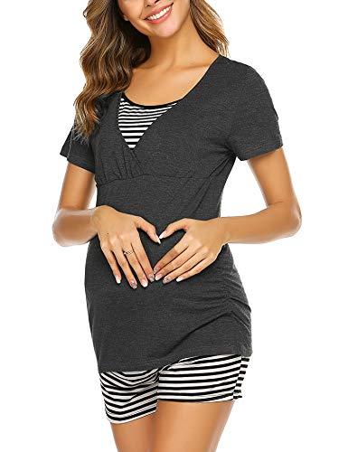 Ekouaer Basic Maternity Nursing Pajamas for Hospital Breastfeeding Sleepwear Set Soft Pregnancy PJ (Gray XL)