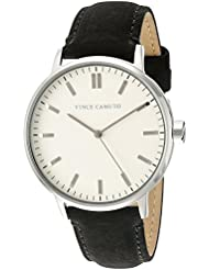 Vince Camuto Womens VC/5309CRBK Silver-Tone and Black Suede Leather Strap Watch