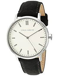 Vince Camuto Women's VC/5309CRBK Silver-Tone and Black Suede Leather Strap Watch