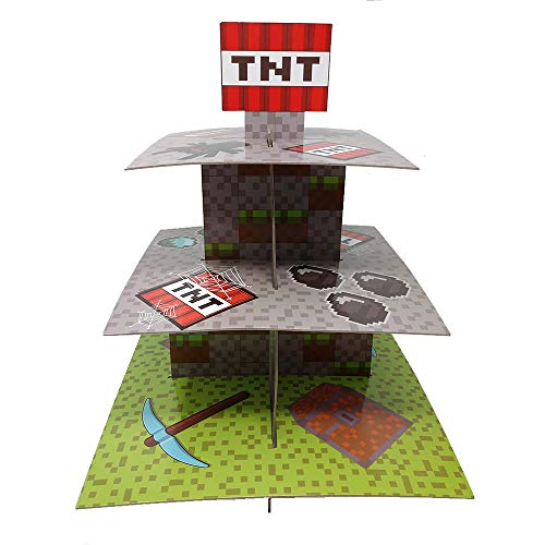 Mining Fun TNT Cupcake Stand & Pick Kit, Pixel Decorations, Minecraft Inspired Parties, Birthdays, Party Supplies, Cake Decorations, 3 Tier Cardboard Cupcake Stand]()