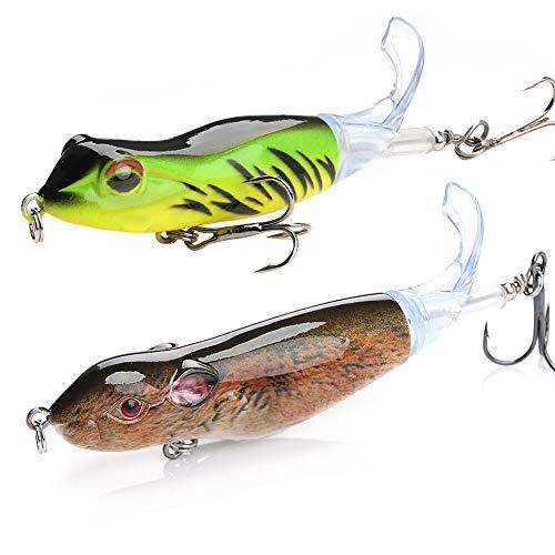 (VTAVTA Topwater Whopper Plopper Frog Fishing Lures Bass Bait Hard Fishing Plopper Hook Soft Rotating Tail Fishing Tackle (Frog+Rat 2 Pcs))