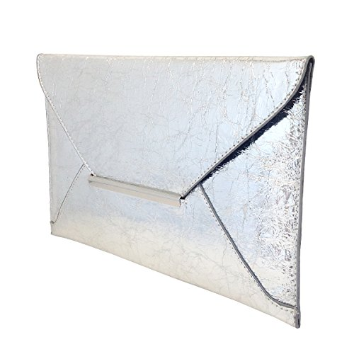 Envelope Metallic Silver Crushed Clutch Crushed Metallic Envelope Clutch vF1Xq