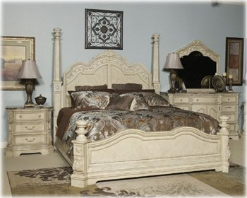 Amazon.com: Ashley Ortanique King Poster Bed Old World in White ...