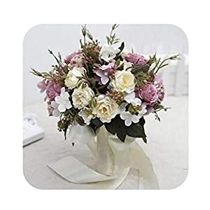 slogan not Fake Flower 6 Colors Wedding Bouquet Handmade buque de noivas Wedding Flowers Bridal Bouquets Ramos de Novia 01 38