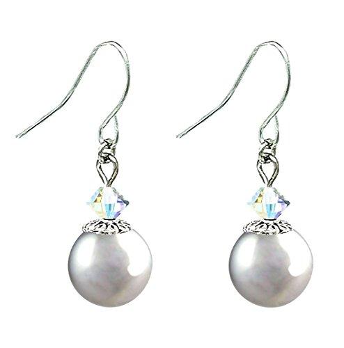 Drop Earrings with Swarovski (tm) Crystal Pearls (10mm) - Light Grey (E599)