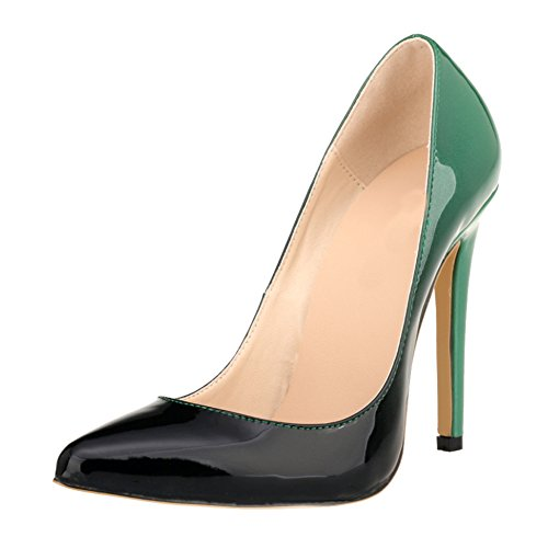 Meijunter Frau Gradient Farbe Party Club High Heels Shoes Stilettos Spitz Pumpen Schuhe Green