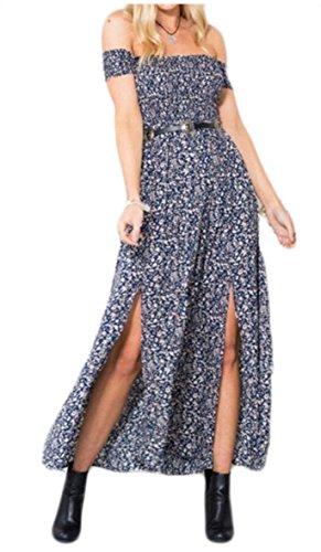 Long Floral Print Sexy Boho Maxi Off Shoulder Dress Blue Women's Dress Split Jaycargogo UWFHq6fw