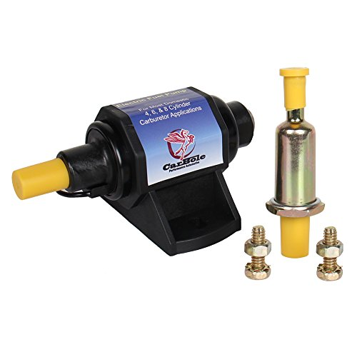 CarBole Micro Electric Gasoline Fuel Pump Universal 5/16 inch Inlet and Outlet 12V 1-2A 35GPH 4-7 P.S.I. Operating Fuel Pressure 2-wire Design by CarBole