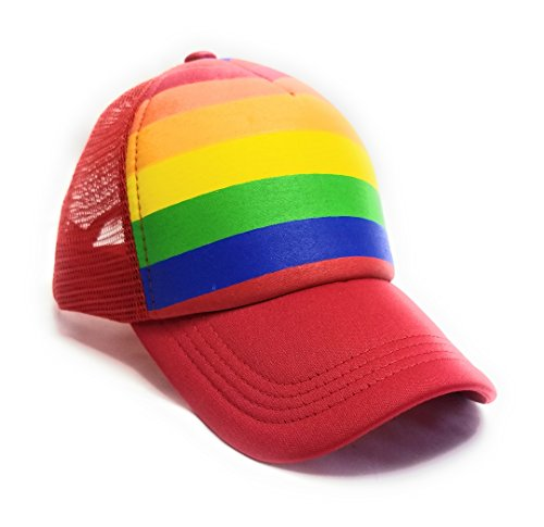 (Gay Pride Neon Rainbow Stripes Snapback Hat, LGBT Bright Mesh Trucker Baseball Cap (Red))