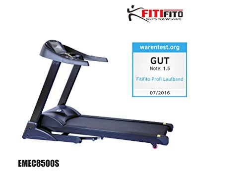 Fitifito 8500S Profi Laufband 7,5PS 22km/h mit 10,1 Zoll Touchscreen Android Wifi App 22 Trainingsmodulen inkl. HRC
