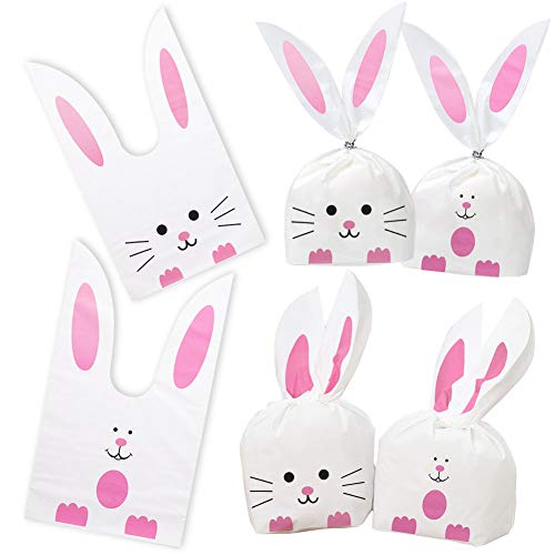 100PCS Easter Bunny Treat Bags, Candy Gift Wrap Bags Rabbit Ear Bags with Twist Ties Party Favors Supplies]()