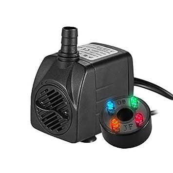 Decdeal - 1000L/H 15W Bomba de Agua Sumergible con 4 Leds Luces Ultrasilencioso para Acuario Pecera Fuente de Sobremesa Hidroponía 4.9ft (1.5m) Cable de ...