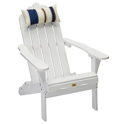 DJL White Wood Folding Adirondack Chair