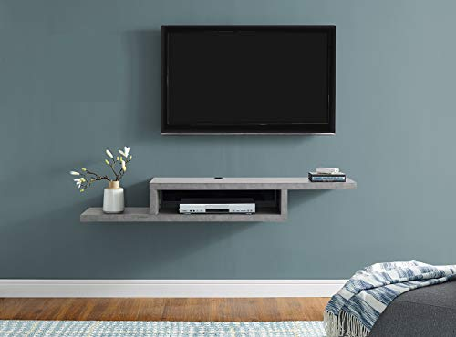 Martin Furniture IMAS360CT Asymmetrical Floating Wall Mounted TV Console, 60inch, Stone Gray, 60