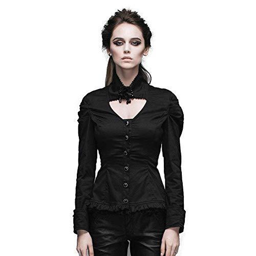 Manche Punk Chemise Fit Gothique Uni Longues Shirt Slim Printemps Automne Manches Blouse Schwarz Tops breal Haut Dame Vintage Femme F6wAz