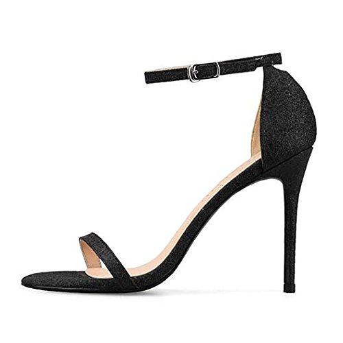 Commercio Scarpe Sera Alti Fibbia Paillettes Black Sposa Donna 41 Caviglia alla Peep da Cinturino Toe 10CM Partito WWUX da Tacchi da Estate Ladies Sandali Stiletto qZWnxUH