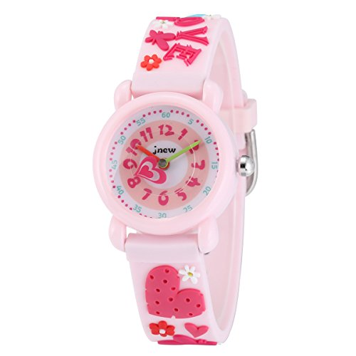 (Jewtme Cute Toddler Children Kids Watches Ages 3-7 Analog Time Teacher 3D Silicone Band Cartoon Watch for Little Girls Boys (Heart-Shaped)