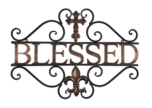 Metal Blessed wall decor with cross and fleur de lis