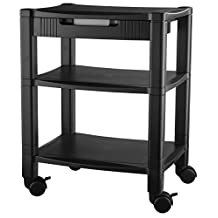 Kantek PS540 3-Shelf Desk Side Mobile Printer Stand with Organizing Drawer, 17 x 13.25 x 24.5-Inches (Black)