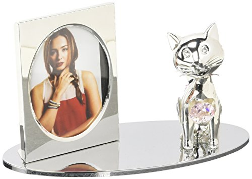 Silver Plated Picture Frame with Crystal Decorated Cartoon Cat Figurine on a Base by ()