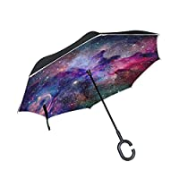 U LIFE Abstract Stars Galaxy Universe Nebula Reverse Inverted Umbrella Sun Rain Golf Umbrellas for Car Outdoor Use With C-shaped Handle