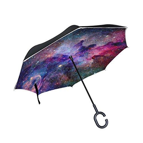 (U LIFE Abstract Stars Galaxy Universe Nebula Reverse Inverted Umbrella Sun Rain Golf Umbrellas for Car Outdoor Use With C-shaped Handle)