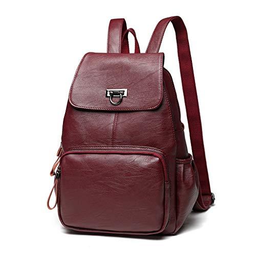 Goddesslili Backpacks Bags British Styled Elegant for Women Ladies Girls Student Schoolbag Solid Color Business Casual (Wine)