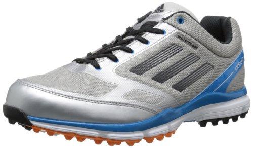 adidas Men's Adizero Sport II Golf Shoe,Metallic Silver/Carbon/Solar Blue,9.5 M US