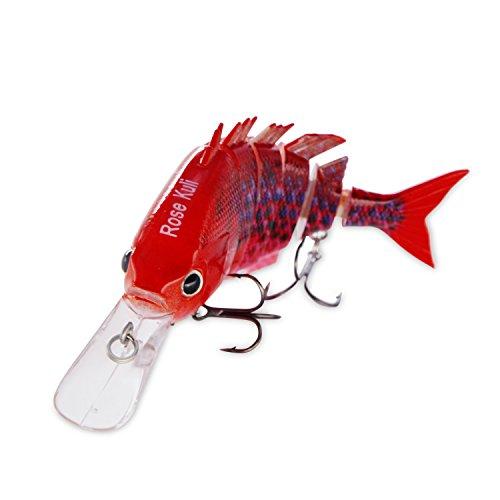 ROSE KULI Bass Fishing Lure Life Like Hard Body Swim Multi Jointed Baits Hook Size #6 Bright (Crankbait Bass)