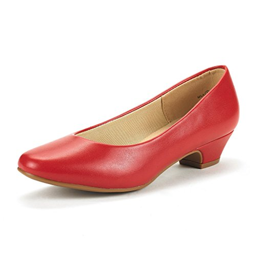 DREAM PAIRS Women's Mila Red Pu Low Chunky Heel Pump Shoes Size 8 M US