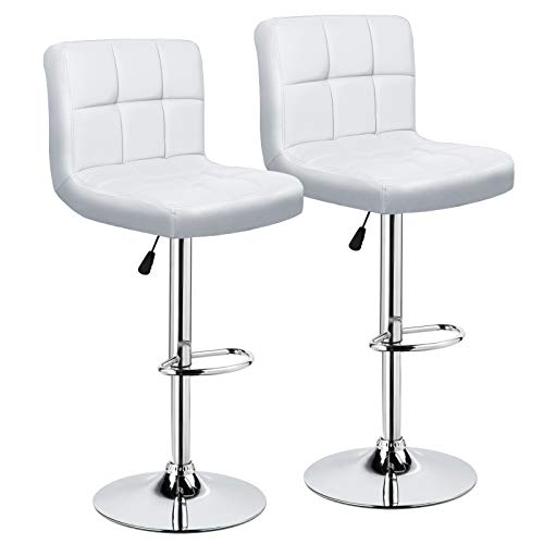 IntimaTe WM Heart Adjustable Swivel Bar Stools Set of 2, White PU Leather Pub Chairs With ()