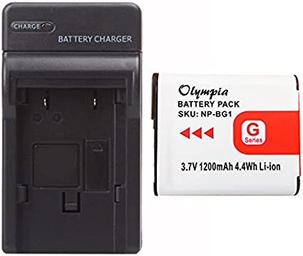 Halcyon 1400 mAH Lithium Ion Replacement Battery and Charger Kit for Sony Cyber-Shot DSC-W150 8.1 MP Digital Camera and Sony NP-BG1